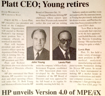 Young retires, Platt named CEO