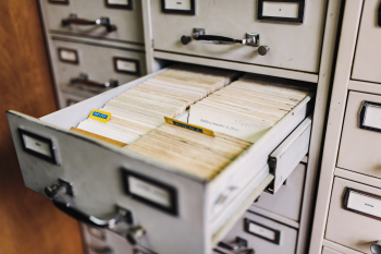 Index card file drawer